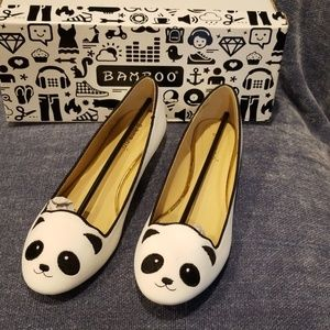 Stroke of Genius Panda Bear Flat white Shoes 6 1/2